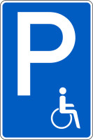 Parkplatzschild, (Symbol Rollstuhlfahrer), 630x420mm, Alu glatt