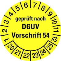 Prüfplakette, geprüft nach DGUV Vorschrift 54, gelb/schwarz, Folie, Ø 30mm - VE = 10 Plaketten