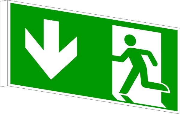 Rettungszeichen, Fahnen-/Nasenschild Notausgang - ASR A1.3 (DIN EN ISO 7010)