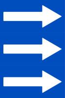 Fließrichtungspfeile gemäß DIN 2403, blau/weiß