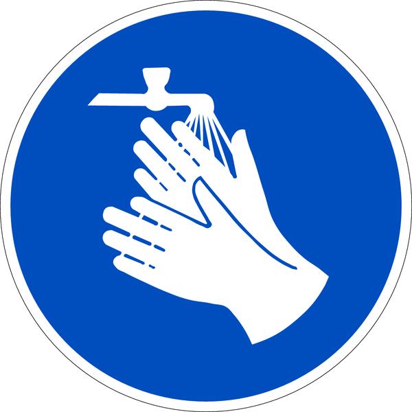 Praxisbewährtes Gebotszeichen Hände waschen