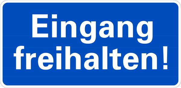 Hinweisschild, Eingang freihalten, 170x350mm, Alu geprägt