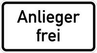 Verkehrszeichen - Anlieger frei, Zusatzzeichen 1020-30