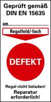 Prüfplakette gem. DIN EN 15635, Defekt, Folie, 80 x 40 mm - VE = 100 Stk.