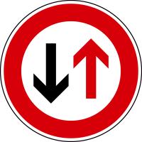 Verkehrszeichen - Vorrang des Gegenverkehrs, Zeichen 208