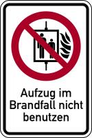 Kombischild, Aufzug im Brandfall nicht benutzen, 150 x 100 mm - ASR A1.3 (DIN EN ISO 7010)