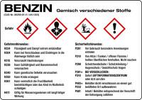 Gefahrstoffetikett, Benzin, Folie, mit H- und P-Sätzen /GHS/CLP/GefStoffV