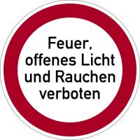 Verbotszeichen, Feuer, offenes Licht und Rauchen verboten - praxisbewährt