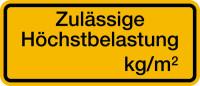 Regalschild, Zulässige Höchstbelastung, schwarz/gelb - zum Selbstbeschriften