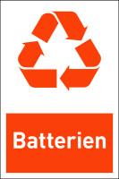 Design-Recyclingschild: Batterien, Folie selbstklebend, 150 x 100 mm