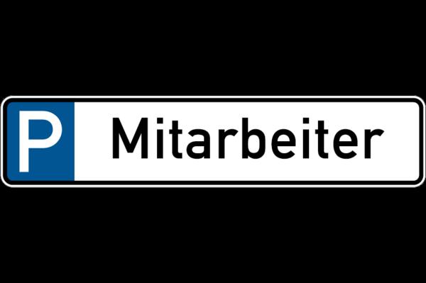 Parkplatzkennzeichen, P-Mitarbeiter, 113x523mm, Alu geprägt