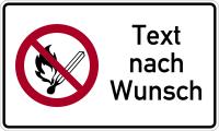 Kombischild, Verbot offenes Licht  + Wunschtext (P003), 150 x 250 mm