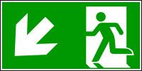 Rettungszeichen, Notausgang abwärts links - ASR A1.3 (DIN EN ISO 7010)
