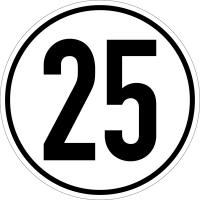 Geschwindigkeitsschild gemäß StVZO, 25 km/h, Ø200mm, Folie/Aluminium