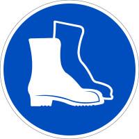 Gebotszeichen, Fußschutz benutzen D-M005 - DIN 4844/BGV A8