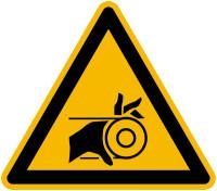Warnschild, Warnung vor Handverletzung durch Riemenantrieb - praxisbewährt