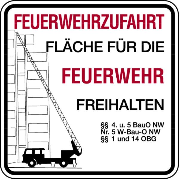 Brandschutzzeichen, Feuerwehrzufahrt ohne Zusatztext