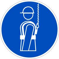 Gebotszeichen, Auffanggurt anlegen D-M009 - DIN 4844/BGV A8