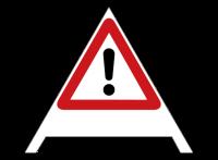 Faltsignale, fluoreszierend, Achtung Gefahrenstelle