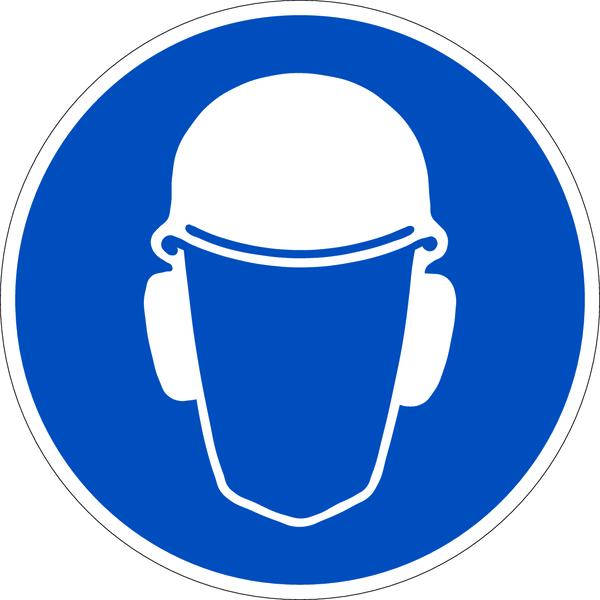 Praxisbewährtes Gebotszeichen Kopf- und Gehörschutz benutzen