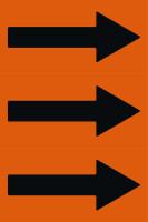 Fließrichtungspfeile gemäß DIN 2403, orange/schwarz