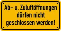 Hinweisschild, Ab- u. Zuluftöffnung, 100x200mm, Alu geprägt
