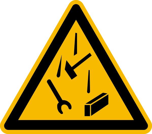 Warnzeichen Warnung vor herabfallenden Gegenständen