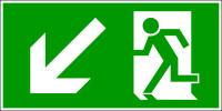 Rettungszeichen, Notausgang abwärts links - DIN 4844