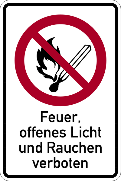 Kombischild, Feuer, offenes Licht und Rauchen verboten - DIN EN ISO 7010/DIN 4844