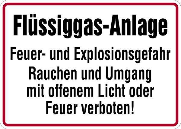 Hinweisschild, Flüssiggas-Anlage