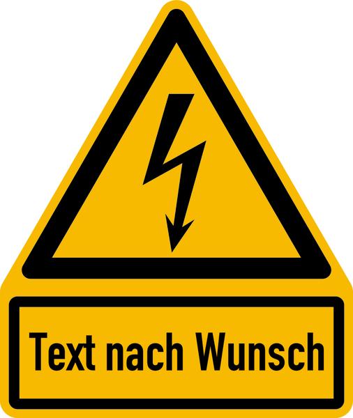 Warnzeichen Kombischild mit Symbol W012 + Text nach Wunsch
