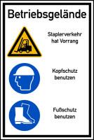Hinweisschild, Betriebsgelände Staplerverkehr, Aluverbund, 900x600mm