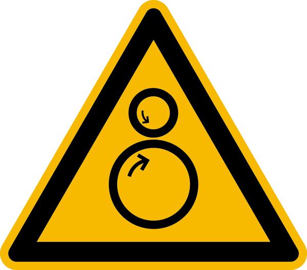 Warnzeichen, Warnung vor Einzugsgefahr D-W030 - DIN 4844/BGV A8