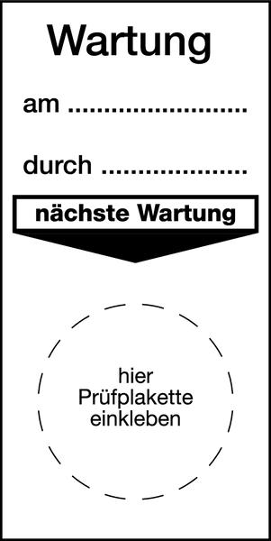 Grundplakette, Wartung - VE = 100 Stk.