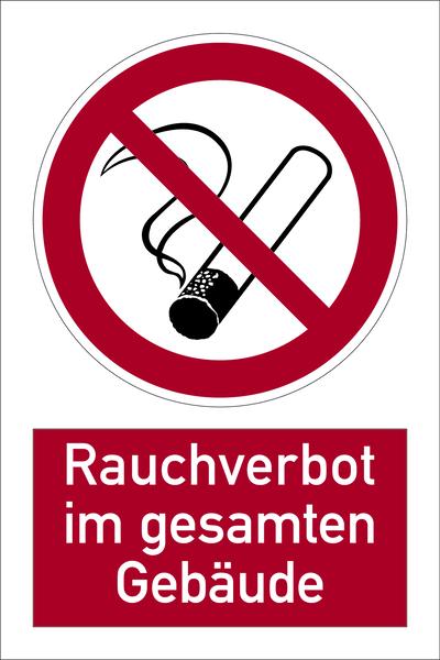 Kombischild, Rauchverbot im gesamten Gebäude - DIN 4844