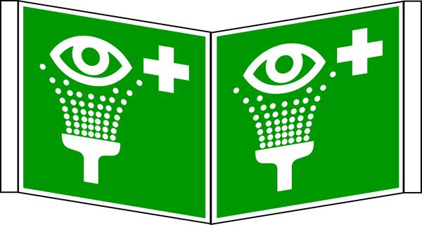 Rettungszeichen, Winkelschild Augenspüleinrichtung - ASR A1.3 (DIN EN ISO 7010)