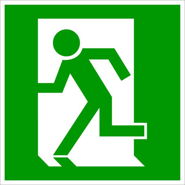 Rettungszeichen, Notausgang linksweisend E 009 - DIN 4844