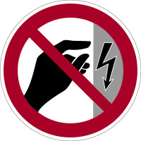 Verbotszeichen, Nicht berühren, Gehäuse unter Spannung P09 - BGV A8