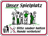 Hinweisschild, Unser Spielplatz - Bitte sauber halten, 300x400mm, Alu glatt