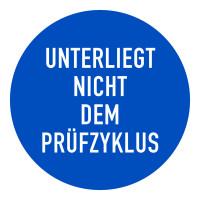 Prüfplakette, Unterliegt nicht dem Prüfzyklus, blau/weiß, Folie, Ø 20 mm - VE = 100 Plaketten