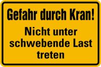 Hinweisschild, Gefahr durch Kran! Nicht unter schwebende Last treten, 200x300mm, Alu geprägt