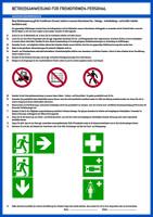 Aushang, Betriebsanweisung für Fremdfirmen Personal - ISO 7010 Piktogramme