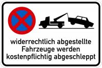Parkverbotsschild, widerrechtlich abgestellte Fahrzeuge - mit Symbol, Alu glatt