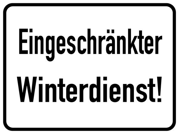 Hinweisschild, Eingeschränkter Winterdienst!, Aluminium, 300 x 400 mm