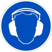 Gebotszeichen, Gehörschutz benutzen D-M003 - DIN 4844/BGV A8