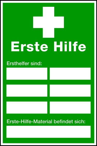 Aushang, Erste Hilfe - Ersthelfer