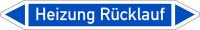 Rohrleitungskennzeichnung, Heizung Rücklauf, Einzeletikett, Folie - DIN 2404
