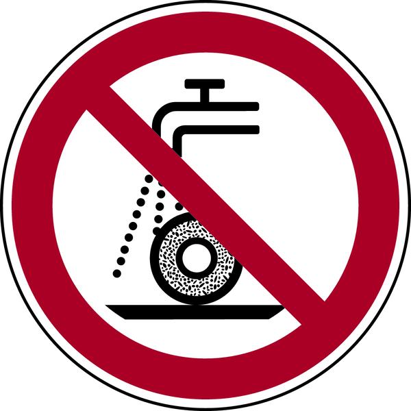 Verbotszeichen, Nicht zulässig für Nassschleifen P033 - ASR A1.3 (DIN EN ISO 7010)