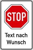 Hinweisschild, Stoppschild mit Wunschtext, 900x600mm, Alu glatt