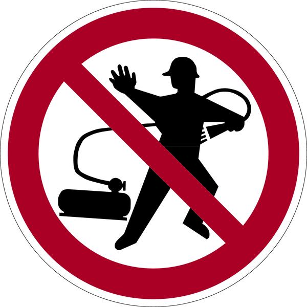 Verbotszeichen, Kleiderreinigung mit Pressluft verboten - praxisbewährt